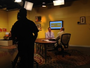 John Shufeldt behind the scenes at The Morning Scramble on AZTV