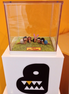 A photo of Macy McKenny's Bob's Burgers snails on display at Bento Box Entertainment headquarters.